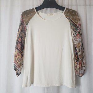 Les Amis T-Shirt Print Sleeve  Off White Blouse L